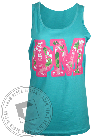 Phi Mu Floral Bid Day Tank Top-gallery-Adam Block Design