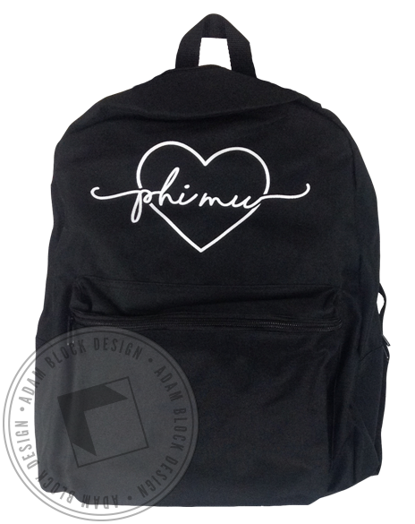 Phi Mu Heart Backpack-Adam Block Design