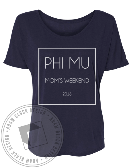 Phi Mu Mom's Weekend Vneck-Adam Block Design