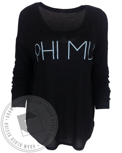 Phi Mu Simple Name Long Sleeve-gallery-Adam Block Design
