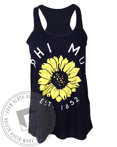 Phi Mu Sunflower Tank-Adam Block Design