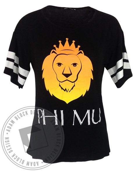 Phi Mu Watch The Throne Striped Tee-gallery-Adam Block Design