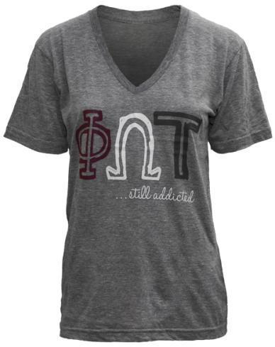 Phi Omega Tau Addicted V-Neck-Adam Block Design