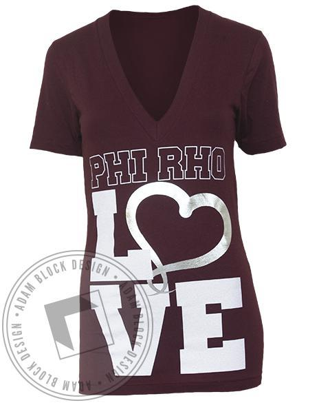 Phi Sigma Rho Love V-Neck-Adam Block Design