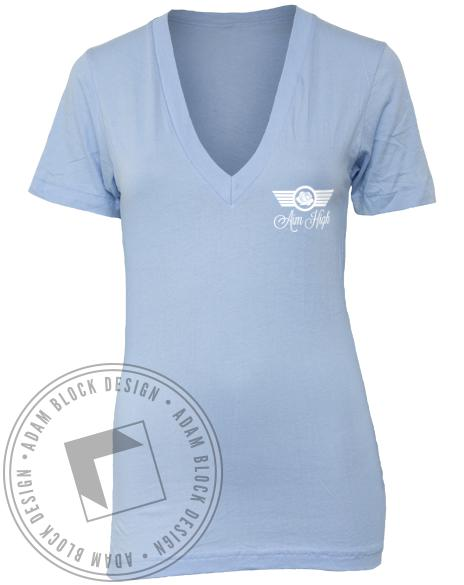Phi Sigma Sigma Aim High Blue V-neck-Adam Block Design