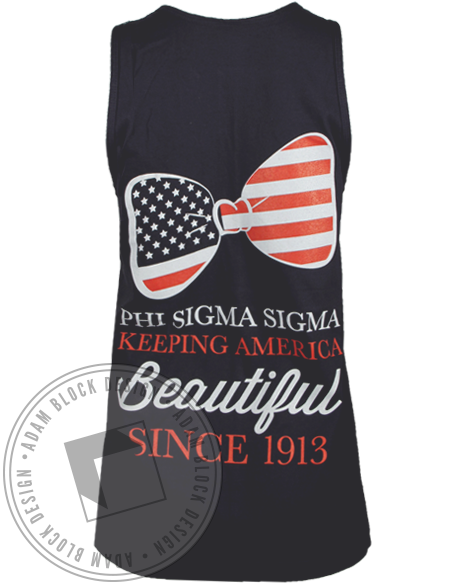 Phi Sigma Sigma America Beautiful Tank Top-Adam Block Design