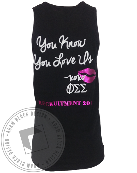 Phi Sigma Sigma And The City You Know You Love Us Tank-Adam Block Design