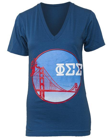 Phi Sigma Sigma Bridge V-Neck-Adam Block Design
