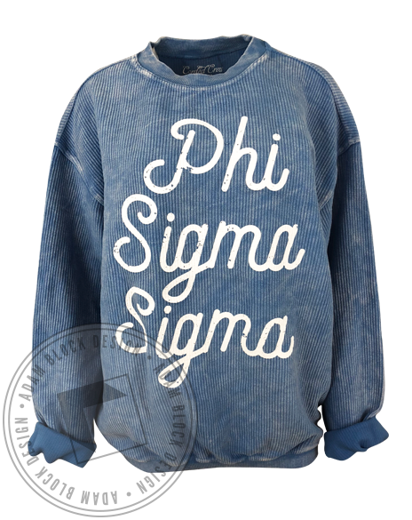 Phi Sigma Sigma Corded Crew Sweatshirt-gallery-Adam Block Design