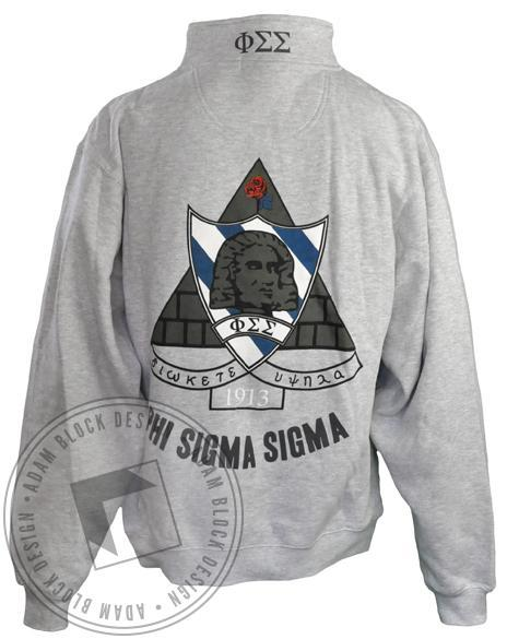 Phi Sigma Sigma Crest Grey Half-Zip-Adam Block Design