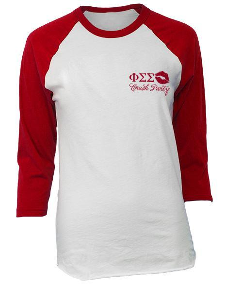 Phi Sigma Sigma Crush Party Baseball Tee-Adam Block Design