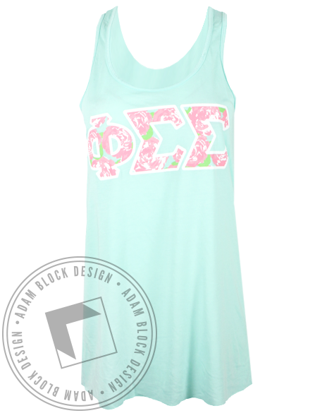 Phi Sigma Sigma Floral Letters Tank Top-gallery-Adam Block Design