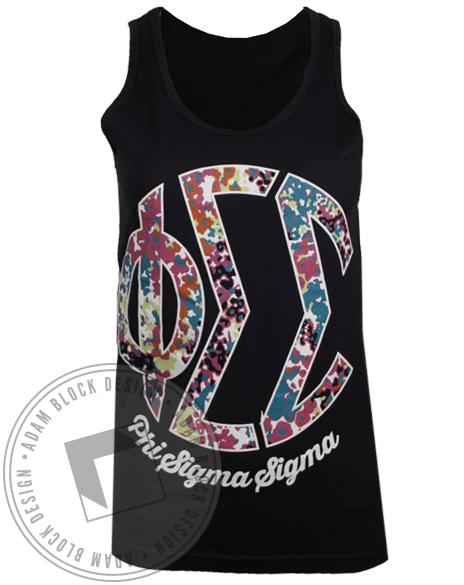 Phi Sigma Sigma Floral Monogram Tank Top-Adam Block Design