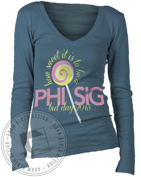 Phi Sigma Sigma How Sweet Bid Day Long Sleeve-Adam Block Design