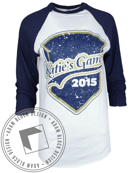 Phi Sigma Sigma Love of the Game Baseball Tee-Adam Block Design