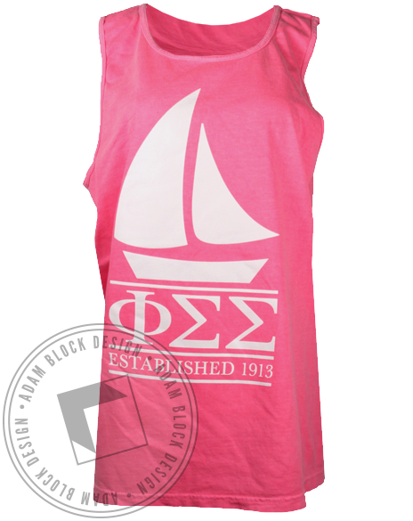 Phi Sigma Sigma Sailboat 1913 Tank Top-gallery-Adam Block Design