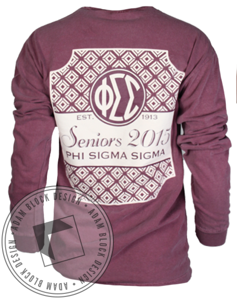 Phi Sigma Sigma Senior Pocket Long Sleeve-Adam Block Design