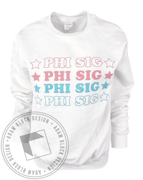 Phi Sigma Sigma Star Crewneck-Adam Block Design