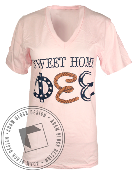 Phi Sigma Sigma Sweet Home Vneck-gallery-Adam Block Design