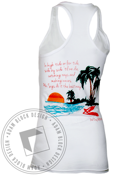 Phi Sigma Sigma Welcome to Paradise Tank Top-Adam Block Design