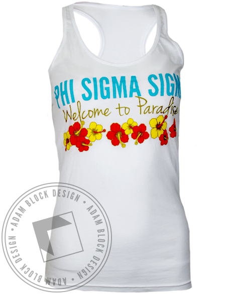 Phi Sigma Sigma Welcome to Paradise Tank Top-gallery-Adam Block Design