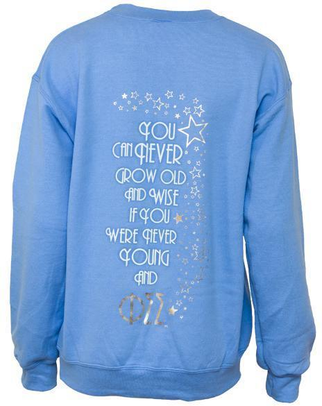 Phi Sigma Sigma Young Formal Sweatshirt-Adam Block Design