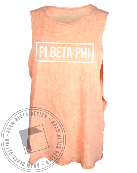 Pi Beta Phi Acid Wash Muscle Tank Top-Adam Block Design