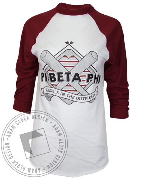 Pi Beta Phi Angels in the Outfield Baseball Shirt-Adam Block Design