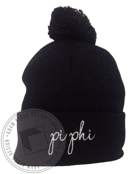 Pi Beta Phi Cursive Beanie-Adam Block Design