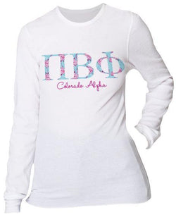 Pi Beta Phi Floral Print Long Sleeve Thermal-Adam Block Design
