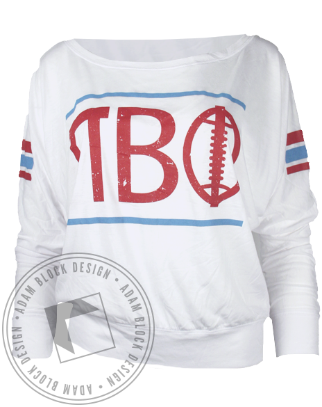 Pi Beta Phi Football Longsleeve Shirt-Adam Block Design