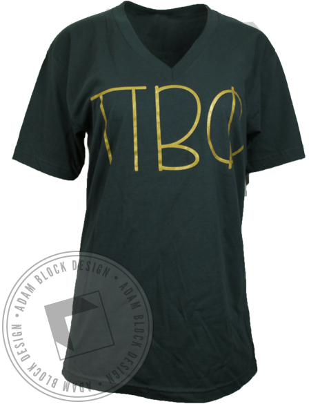 Pi Beta Phi Greek Letters Vneck Tshirt-Adam Block Design