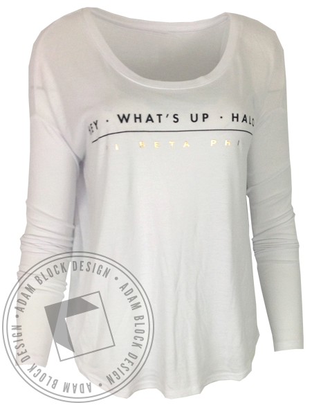 Pi Beta Phi Hey What's Up Halo Long Sleeve-Adam Block Design