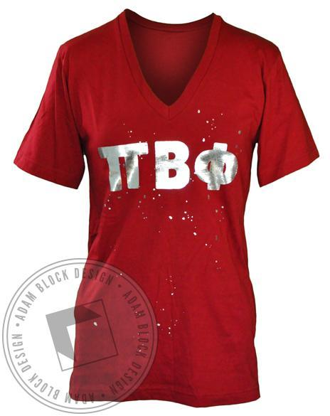 Pi Beta Phi Letters V-Neck-Adam Block Design