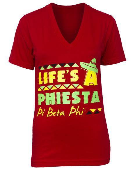 Pi Beta Phi Phiesta V-Neck-Adam Block Design