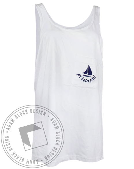 Pi Beta Phi Pocket Tank Top-Adam Block Design