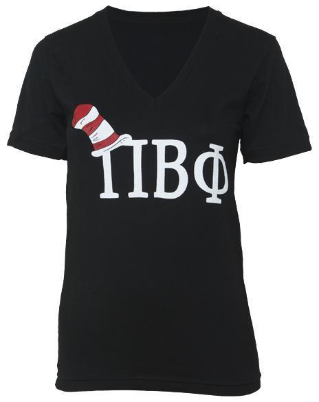 Pi Beta Phi Red and White Striped Hat V-Neck-gallery-Adam Block Design