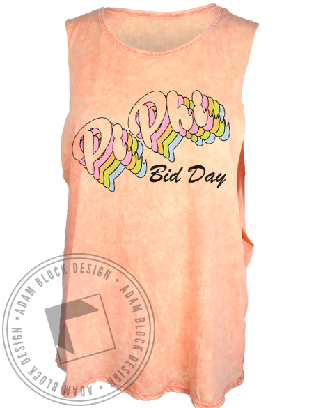 Pi Beta Phi Retro Bid Day Tank Top-Adam Block Design