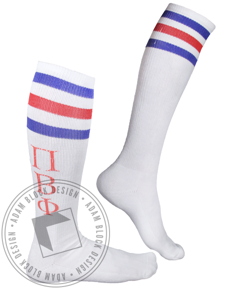 Pi Beta Phi Striped Socks-Adam Block Design