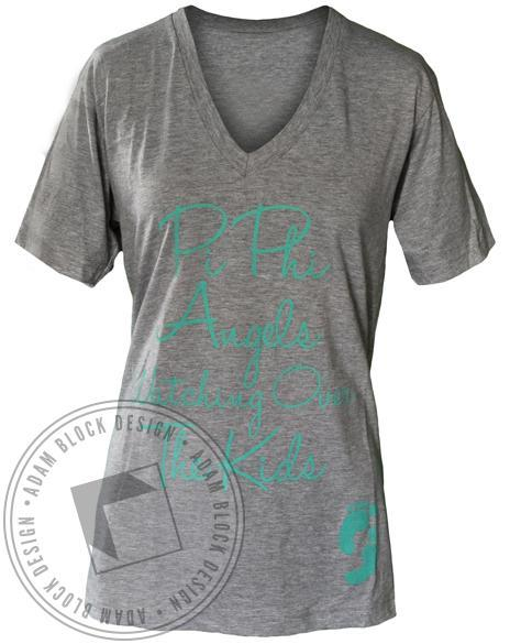 Pi Beta Phi Wings V-Neck-Adam Block Design