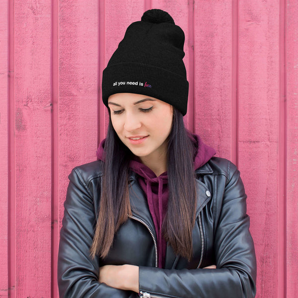 All You Need is Love Pom-Pom Beanie - Color: Black - Adam Block Design