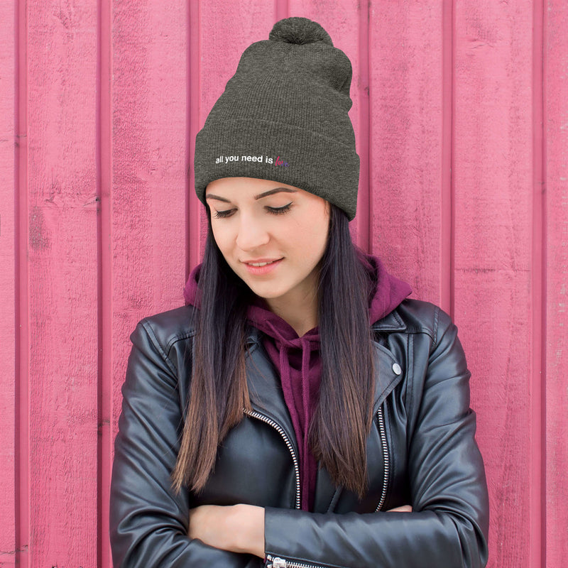 All You Need is Love Pom-Pom Beanie - Color: Dark Heather Grey - Adam Block Design