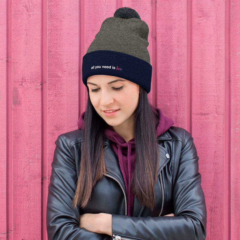All You Need is Love Pom-Pom Beanie - Color: Dark Heather Grey/ Navy - Adam Block Design