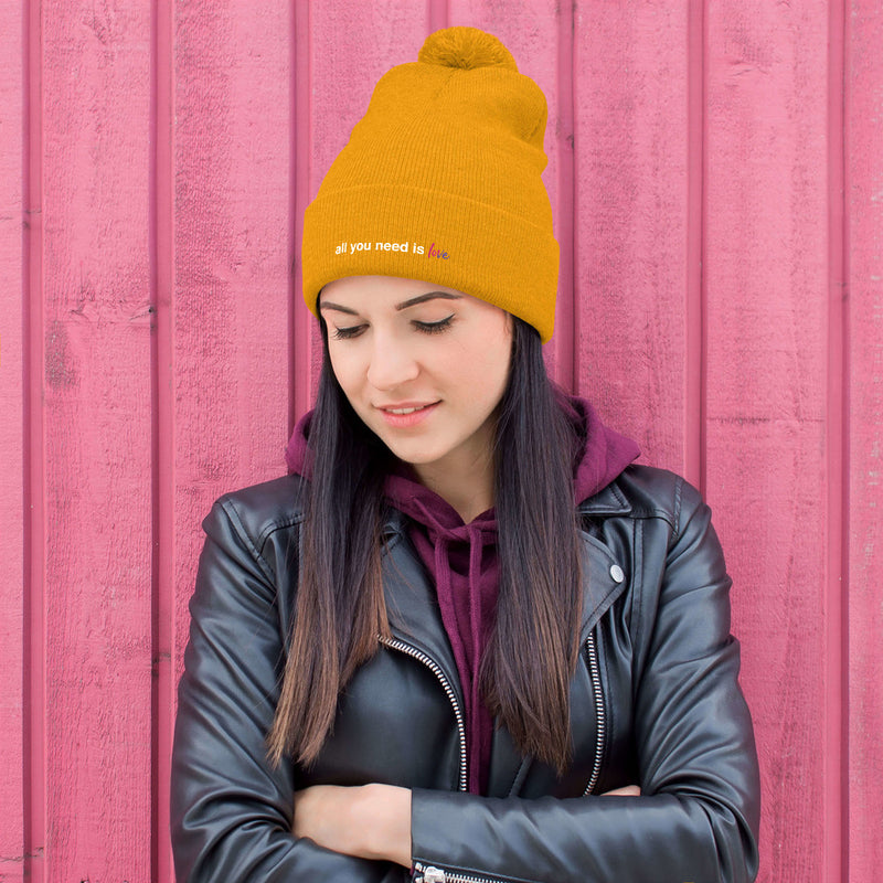 All You Need is Love Pom-Pom Beanie - Color: Gold - Adam Block Design