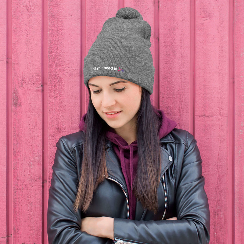 All You Need is Love Pom-Pom Beanie - Color: Heather Grey - Adam Block Design