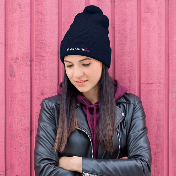 All You Need is Love Pom-Pom Beanie - Color: Navy - Adam Block Design