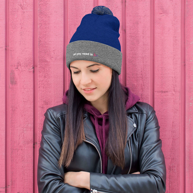All You Need is Love Pom-Pom Beanie - Color: Royal/ Heather Grey - Adam Block Design
