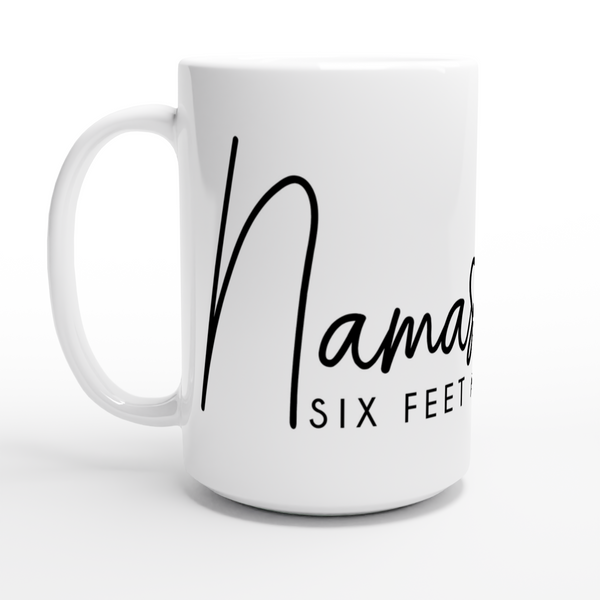 Namaste Six Feet Away 15oz Ceramic Mug - Title: White 15oz Ceramic Mug - Adam Block Design