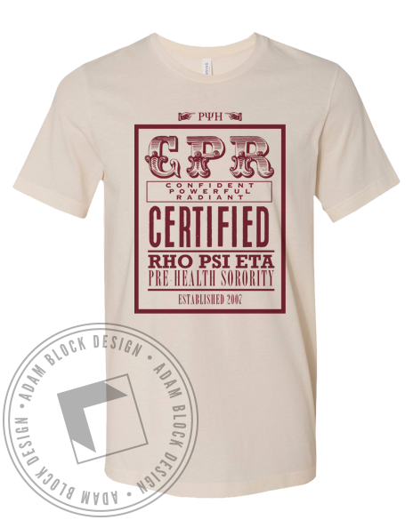 Rho Psi Eta CPR Certified Tee-Adam Block Design