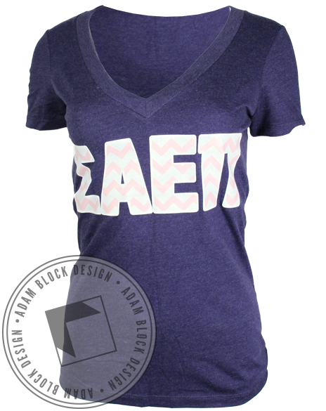 Sigma Alpha Epsilon Pi Chevron Vneck Tee Shirt-gallery-Adam Block Design